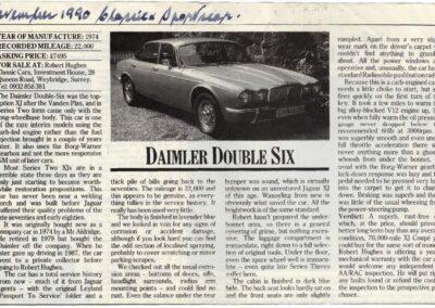 November 1990 – Daimler Double Six supplied