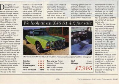Thoroughbred & Classic Cars April 1996 – XJ6 S1 4.2 supplied