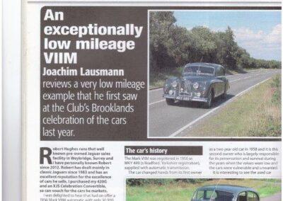 Jaguar Enthusiast June 2016 – Mk 7 'M'  refurbished by us reviewed at Brooklands