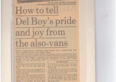 Our involvement with this vehicle as featured in Daily Mail 1994 – Only Fools and Horses Van